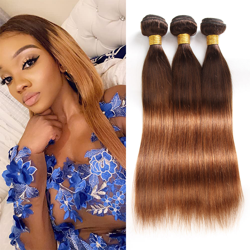 Ombre Straight Human Hair Bundles Brazilian Hair Weave Extensions 4/30 Colored Remy Human Hair 3/4 Pieces Brown Natural Black