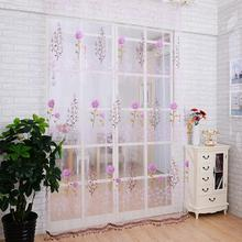 1M x 2M Sheer Panel Door Curtains Beads Tassel Floral Voile Divider Window Curtain