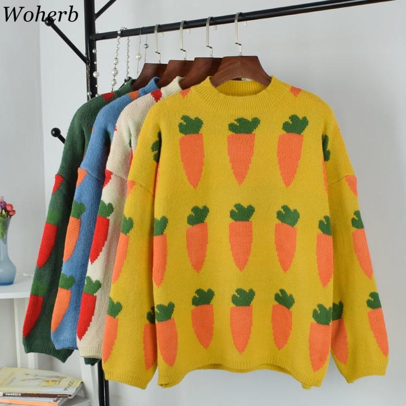Woherb 2020 Woman Kawaii Ulzzang Loose Sweater Female Pullover Korean Punk Oversized Cute Harajuku Clothing For Women 90777