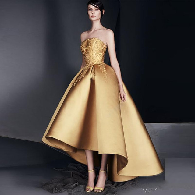 Elegant Gold Applique Prom cocktail Dress Strapless High-Low Ruffle Evening Gown New Design High Quality Homecoming Dresses
