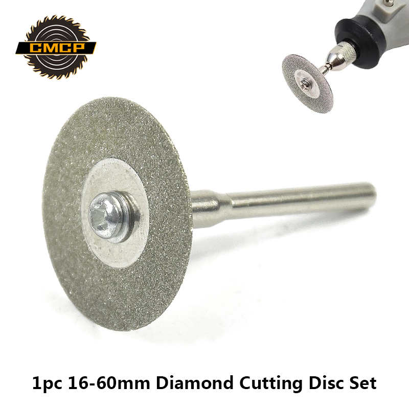 1pc 16-60mm Mini Diamond Cutting Disc With Mandrel Abrasive Diamond Discs For Dremel Diamond Saw Blades