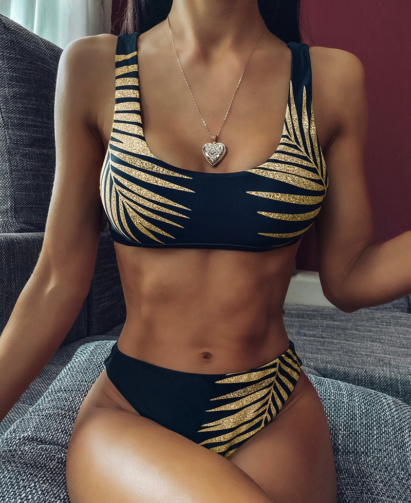 Gold Leaves Bikini Shiny Sequins Swimsuit Women Solid Swimwear Bathing Suit Brazilian Biquini Glitter Swimsuit Sexy Bikini 2020