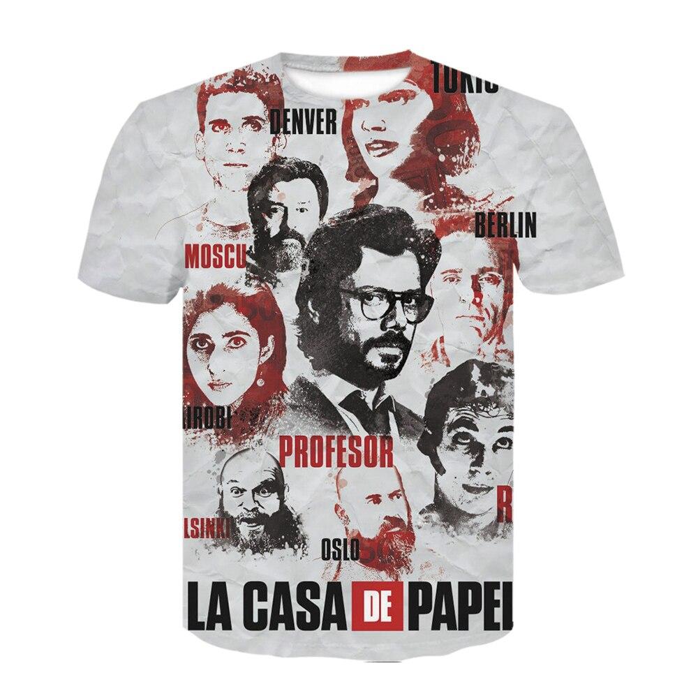 T-shirt homme, humoristique, vêtements homme, estival, avec film Money Heist La Casa De Papel, imprimé en 3D