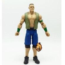 Novo 17cm superstar john cena com roupas de wrestling gladiadores lutador figura com saco opp