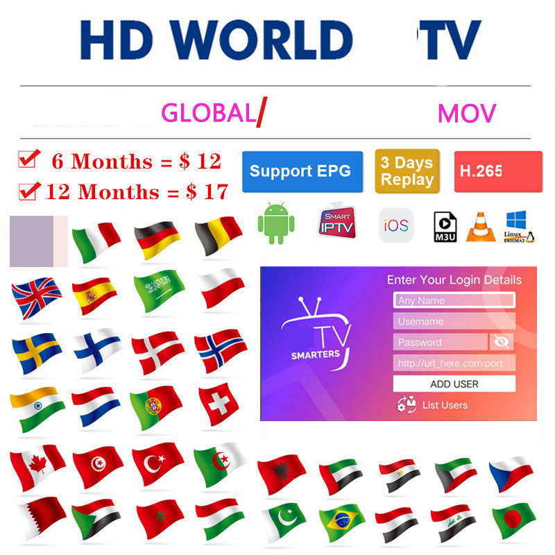 Full World TV Global  Mov Adult 4K Europe Dutch Israel Spain Germany Itlay Arabic USA TV Subscription Ssmart TV M3U