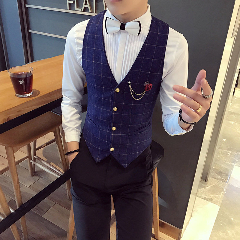 Chaleco Hombre Vests New Fashion Flowers Plaid Vest Men Formal Wedding Suit Slim Fit Waistcoat Gilet Quality Thin Dress Vest