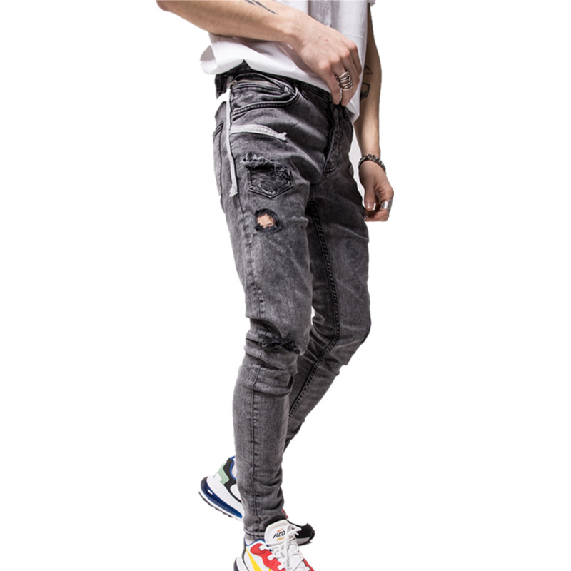 Ripped Hole Pencil Jeans Men New 2020 Man Cotton Denim Pants Distressed Freyed Slim Fit Casual Trousers Stretch Broken Jean Male