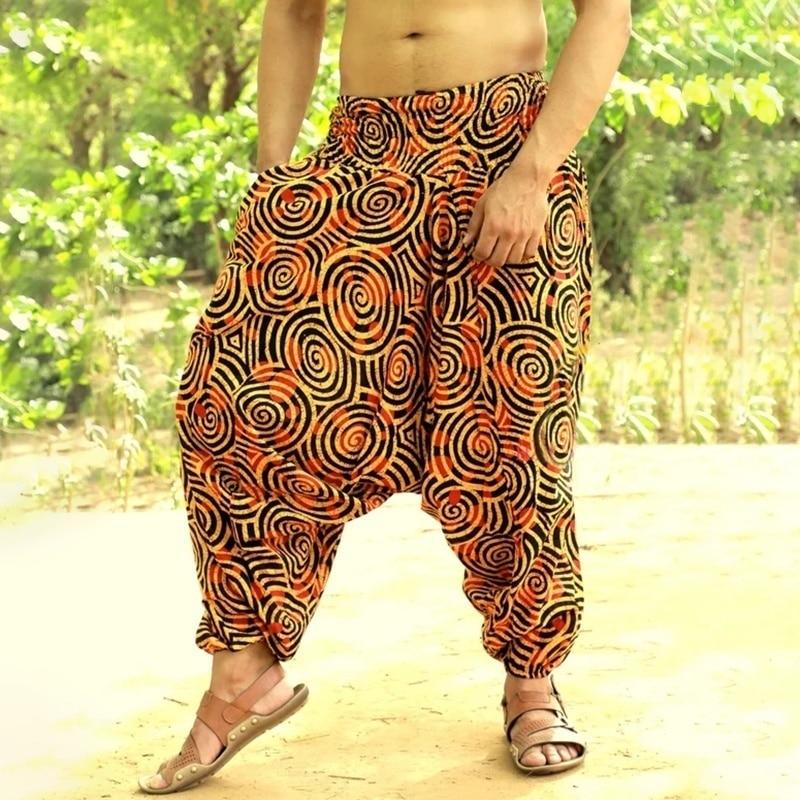 Men Hip hop Wide Leg Trousers Baggy Cotton Linen Harem Pants Casual Long Pants Pantalones 2020 New Loose joggers Men streetwear