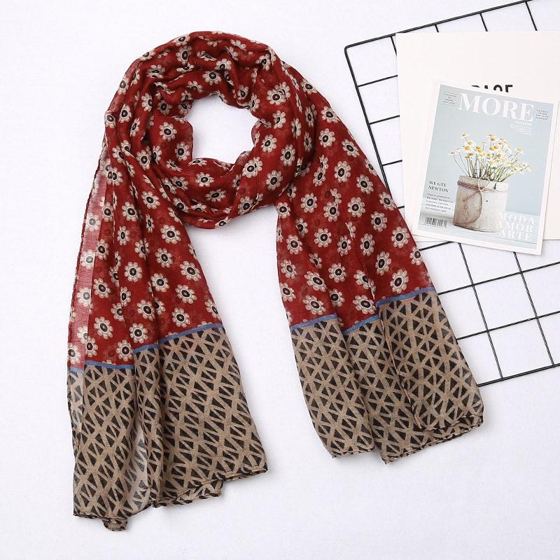 180*88cm Large Size Fashion Winter Hot Sale Flower Print Women Hijab Foulard Echarpe Hiver Femme Long Cotton Viscose Scarf