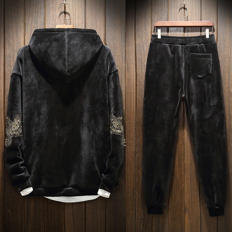 Embroidery Winter Thick Velvet Casual 2Pcs Sets Long Sleeve Pullover Hooded Sweater Elastic Waist Full Length Pants Plus Size