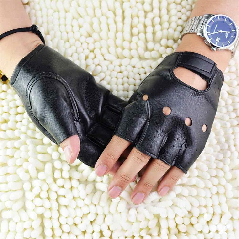 Unisex de cuero sintético de poliuretano negro guantes sin dedos guantes de mujer mitad Mitad de dedo de conducción de las mujeres de los hombres de moda transporte guantes