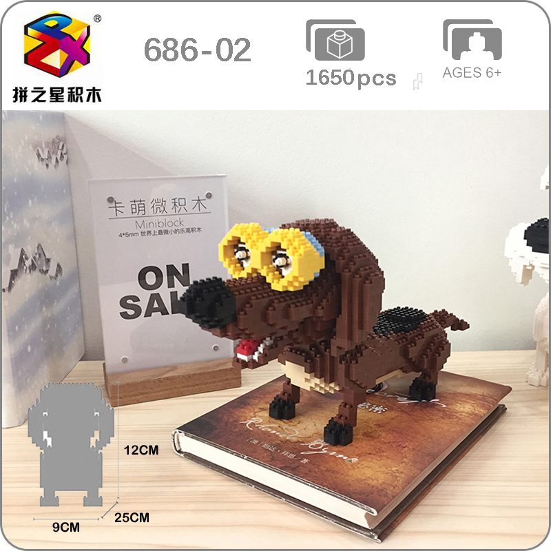 BS Dachshund Glasses Brown Dog Pet Animal Diamond Mini Building Nano Blocks Toy