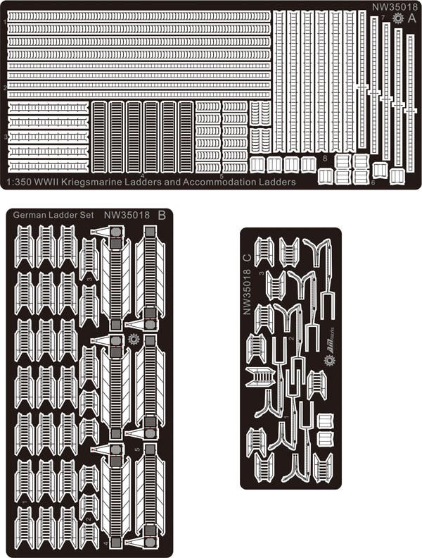 1/350 Etching Sheet WWII Kriegsmarine Ladders And Accommodation Ladders (Good  Details) NW35018 Model Accessory