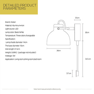 Image 4 - Aisilan LEDโคมไฟMinimalistโคมไฟข้างเตียงInfinite Dimmingสำหรับห้องนั่งเล่นห้องนอนCorridorผนังLight