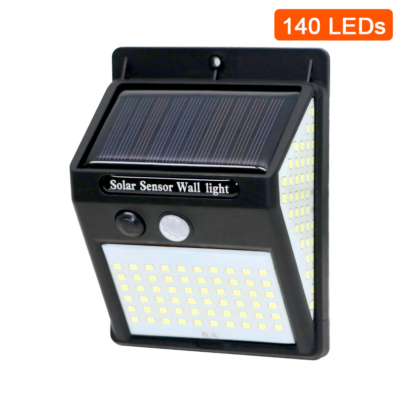 3sided 140LED PIR Motion Sensor Sunlight control Solar Energy Street lamp Yard Path Home Garden Solar Power Induction Wall Light