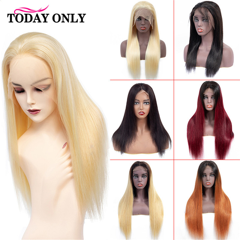 TODAY ONLY Brazilian Straight Lace Front Human Hair Wigs For Black Women 613 Blonde Lace Front