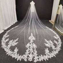 Роскошная кружевная свадебная вуаль длиной 4 метра с гребнем