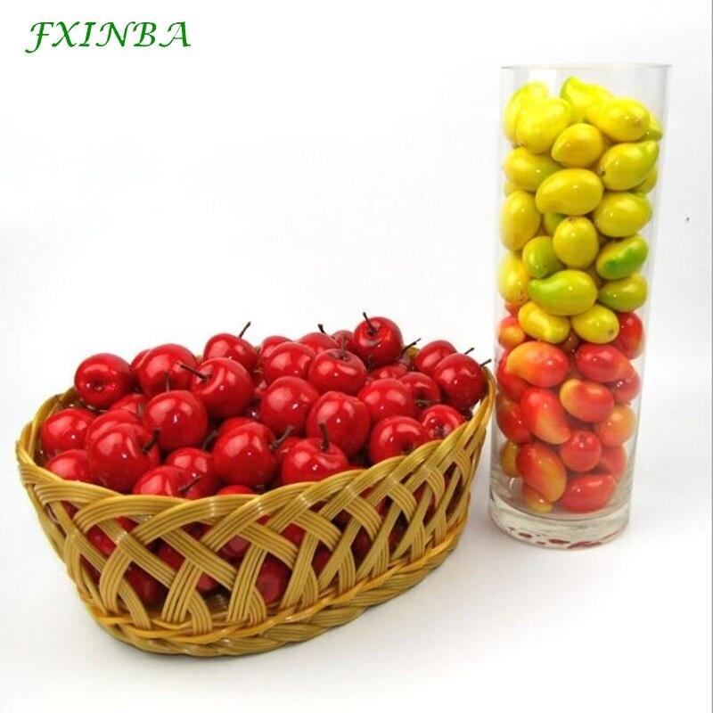 FXINBA 20Pcs Mini Artificial Fruit/Vegetables Foam Apple Cherry Simulation Fake Fruit Model Props Party Kitchen Decoration Toys