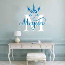 Cute Personalized Name Kids Bedroom Decoration Vinyl  Beauty Unicorn With Art Wall Decals Fashion Poster Mural W597