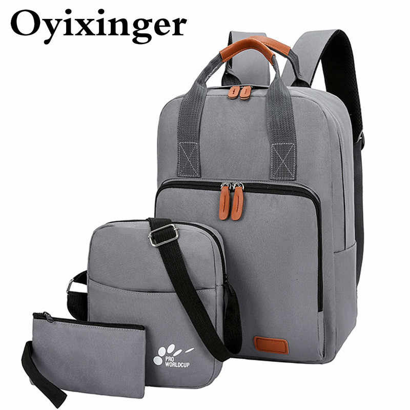3 Pcs/set Young Student School Bag Boys Backpacks Waterproof USB Charging Backpack Schoolbag For Teenagers Girl Student Book Bag