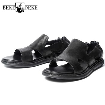 2020 Summer New Men Elastic Slip On Loafers Beach Sandals Vintage Open Toe Gladiator Male White Hollow Out Flats Casual Sandals