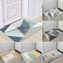 Geométrico moderno impresso tapete da porta de entrada anti deslizamento casa deco tapete no banheiro sala estar cozinha tapetes toalete