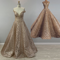 Long Rose Gold Sequin Arabic Evening Dresses 2020 Ball Gown Off The Shoulder Glitter Sequin Women Formal Dubai Evening Gowns