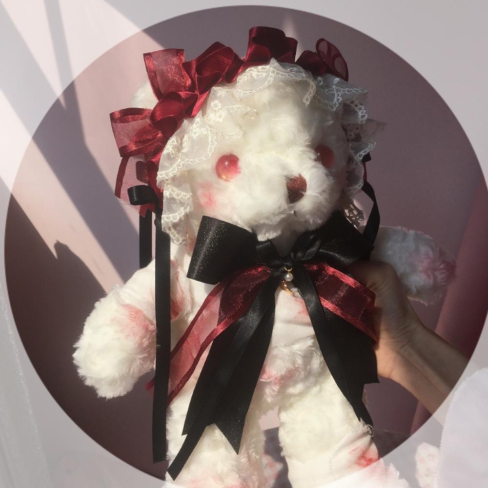 Dark Girl Lolita Retro Gloomy Bear Doll Shoulder Bags Gothic Soft Girl Cosplay Yandere Kawaii Plush Crossbody Bag Handbag
