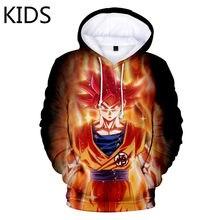 2 a 14 anos de idade crianças hoodies anime impressão hoodie masculino/feminino 3d marca moletom z criança goku bolso hoodies moda streetwear