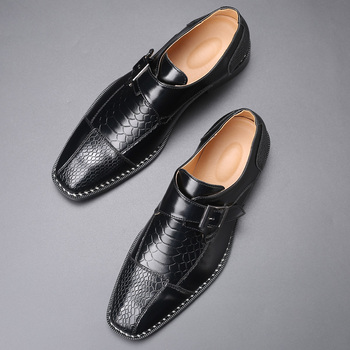 2020 Men's Dress Shoes Buckle Business Skyle Oxfords Formal Leather Shoes Elegant Wedding Loafers image