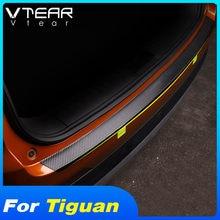 Vtear Für VW Tiguan Zubehör 2020 2019 Auto Stamm Tür Schwellen-verschleiss-Carbon Faser Leder Protector Aufkleber Interior Trim