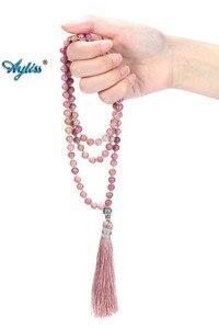 Image 3 - Ayliss 6mm Natural Rhodochrosite/Moss Carnelian Tassels Necklace 108 Beads Buddhist Prayer Tibetan Mala Multilayer Wrap Bracelet