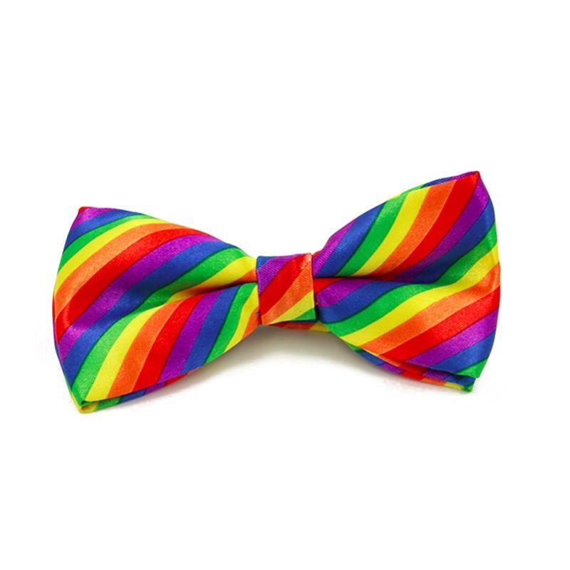 Fashion Men Women Fashion Colorful Rainbow Striped Bowties Wedding Party Tuxedo Bow Ties For Men Slim Neck Ties Cravate Gravata