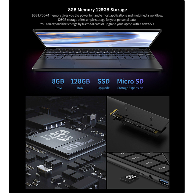 """Teclast F6 Newest Laptop 8GB LPDDR4 128GB SSD 1.28KG Notebook 13.3"""" IPS 1920x1080 Intel Apollo Lake Windows 10 Laptops USB3.0 5"""