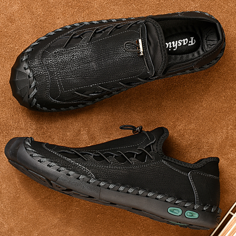 Big Foot Genuine Leather Shoes For Men's Breathable Trendy Soft-Soled Large Size 12 Casual Handmade Brand Moccasins Black Summer 5