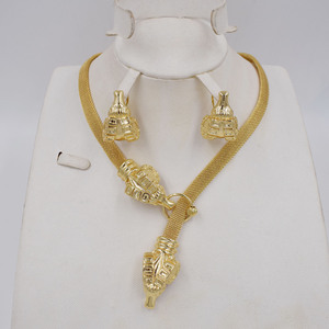 Image 1 - High Quality Dubai Gold color Jewelry Set For Women african beads jewlery fashion necklace set earring jewelry