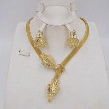 Wysokiej jakości dubaj złoty kolor komplet biżuterii damskiej koraliki afrykańskie jewlery modny naszyjnik zestaw kolczyk biżuteria