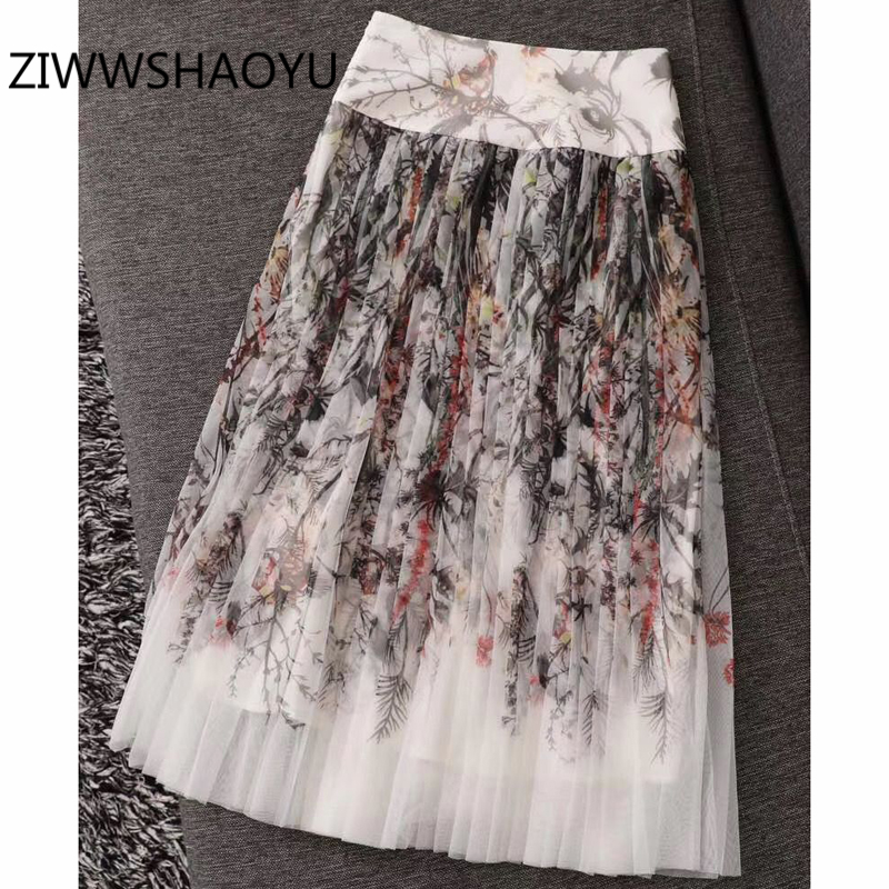 ZIWWSHAOYU Women Summer Vintage Pleated Skirt Fashion Designer Ladies High Waist Mesh Plants Print Midi Skirts