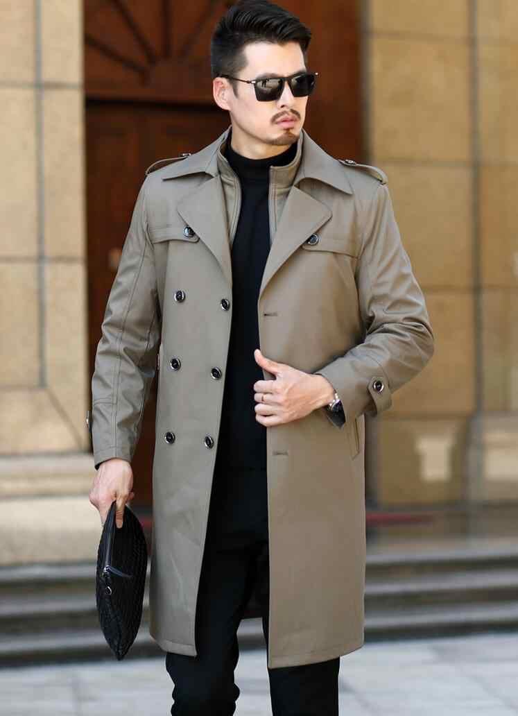 Мужской Тренч, мужское двубортное длинное пальто со съемным шерстяным подкладом, однотонное пальто на осень и зиму с длинным рукавом