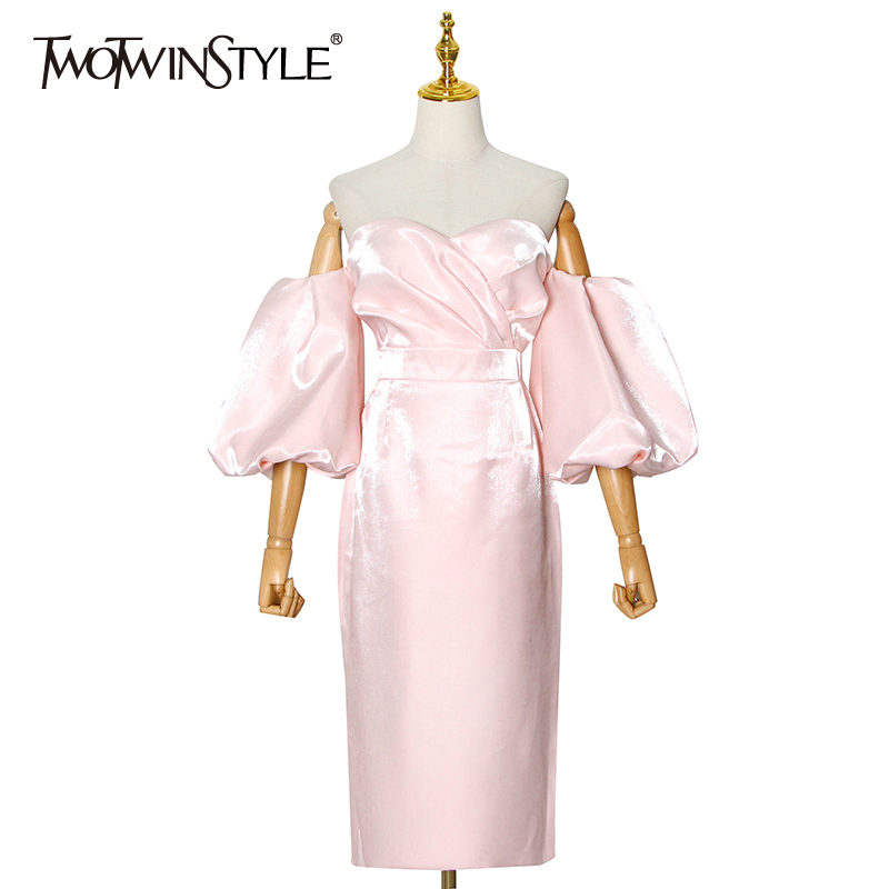 TWOTWINSTYLE Off Shoulder Pink Dress For Women Strapless Puff Sleeve High Waist Midi Elegant Dresses Female 2020 Fashion Clothes