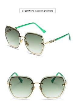 Fashion Oversized Sunglasses Women 2020 UV400 Designer Rimless Square Sun Glasses Woman Vintage  gafas de sol oculos With Box 8