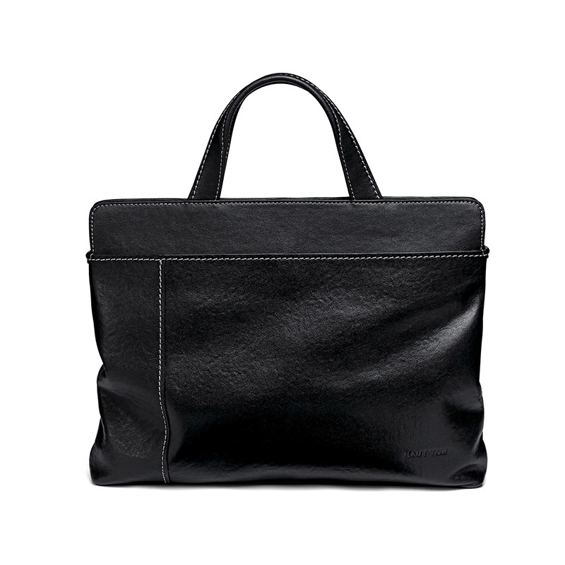 Soft Handbag Genuine leather Business bag real 100% Cow Real genuine leather bags for Men laptop 14 inch Messenger Notebook bag image