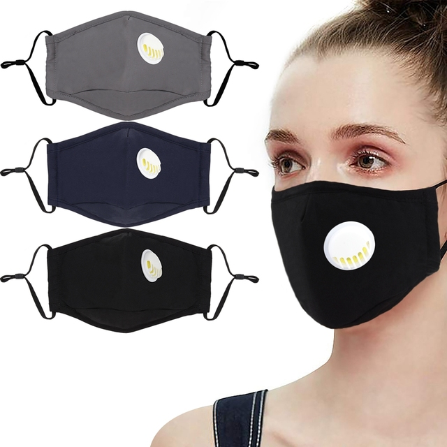 3pcs Cotton PM2.5 Anti Haze Mask Breath Valve Anti-Dust Mouth Mask Activated Carbon Filter Respirator Mouth-Muffle Mask Face