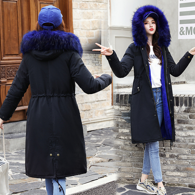 Parka Women's Large Fur Collar 2019 New Style Winter Korean-style Long Cotton-padded Clothes Women's Over-the-Knee-Style Slim Fi