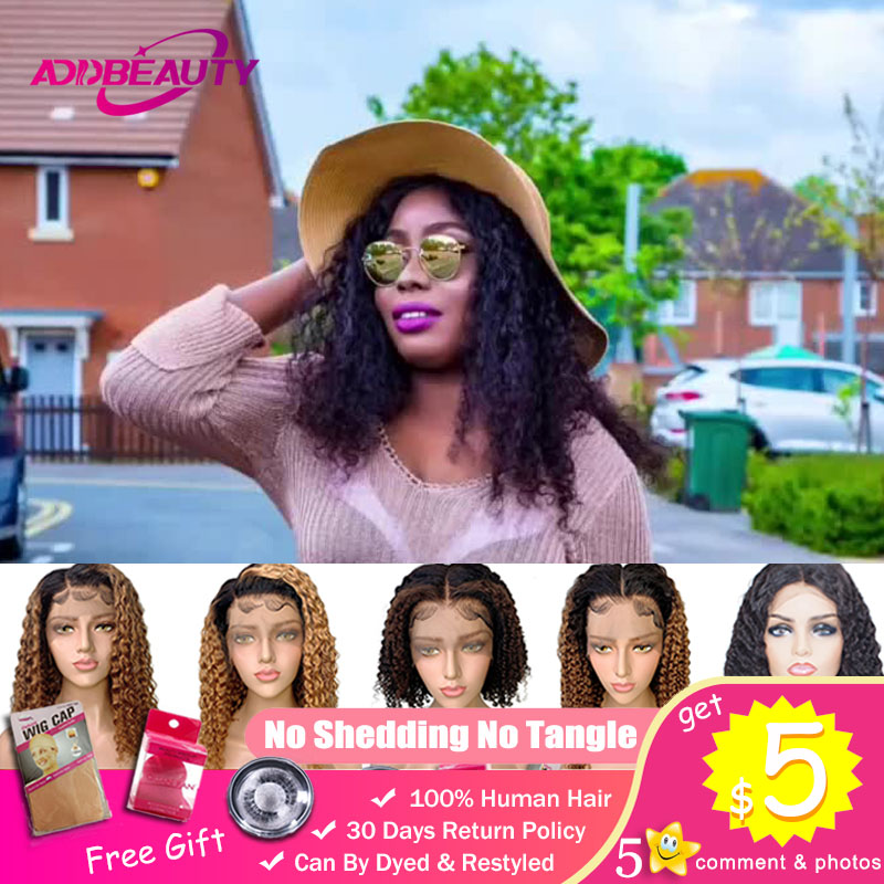 Short Bob Deep Wave 13x6 Lace Front Wig For Black Women Brazilian Human Remy Natural Curly Hair Hairline Pre Plucked Addbeauty