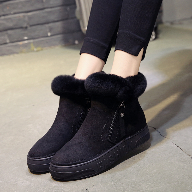 Image 4 - SWYIVY Flat Zipper Nubuck Woman Winter Boots 2019 Fashion Snow Ankle Boots For Women Shoes Short Plush Sewing Booties Solid ShoeAnkle Boots   -