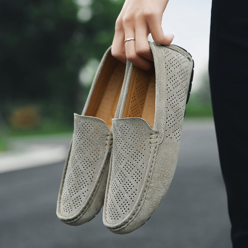 Summer Breathable Suede Leather Flats Men Casual Shoes Brand 2020 Mens Loafers Moccasins Breathable Slip On Man Driving Shoes
