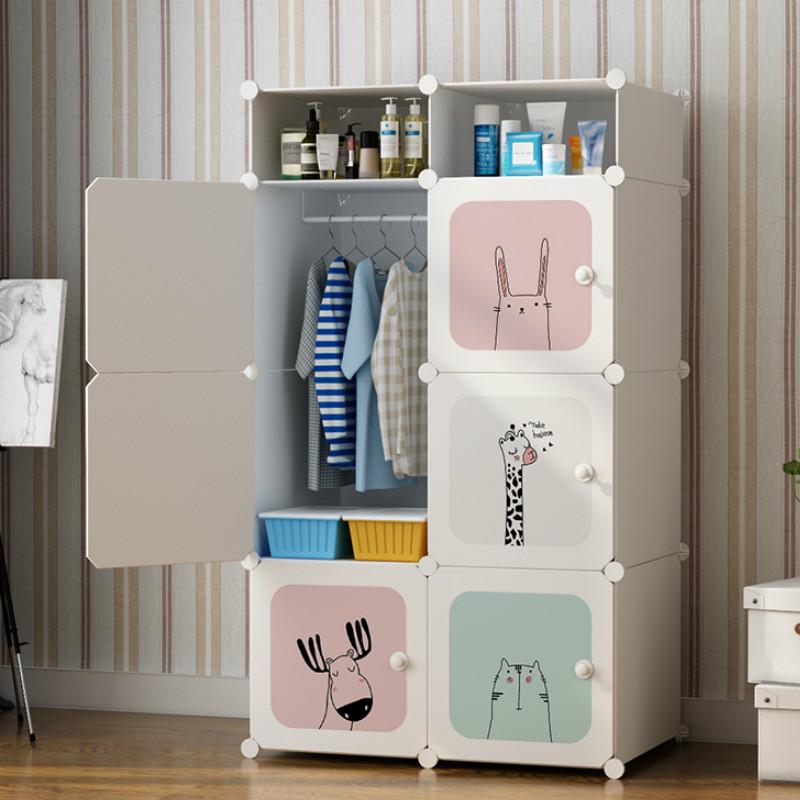 Wardrobe Simple Plastic Cloth Baby Economic Receipt Cabinet Single Storage Baby Wardrobe