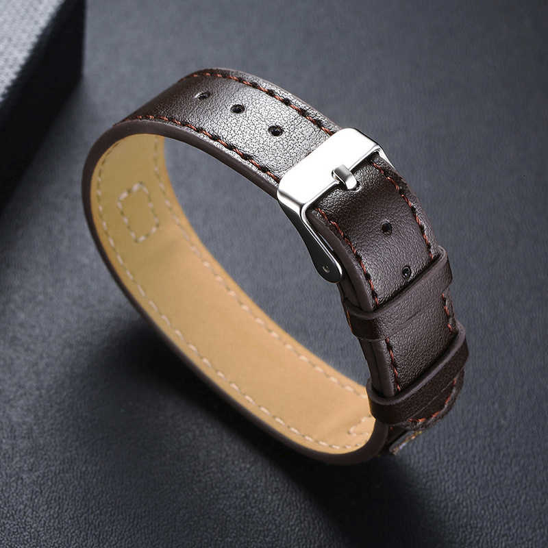 Men's Free Custom Personalize Engrave Name Love Info Stainless Steel ID Bar Bracelets for Women with Adjustable Leather Jewelry