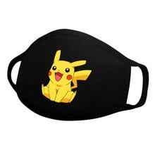 Pikachu cosplay máscara dos desenhos animados anime crianças reutilizáveis pokemon figura brinquedos criança lavável ir pikachu algodão máscara facial